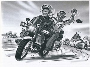 Sharing the ride with a Kenyan Policeman